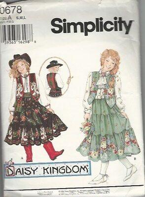 SIMPLICITY DAISY KINGDOM COWGIRL DRESS PATTERN FOR GIRLS SIZE S, M, L - Cowgirl Dress For Girls