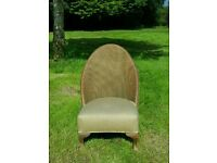 Lloyd loom bedroom chair in lovely condition gold trim