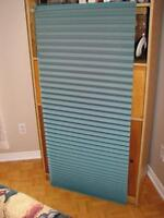 3 TEAL COLORED ACCORDION PLEATED SHADES