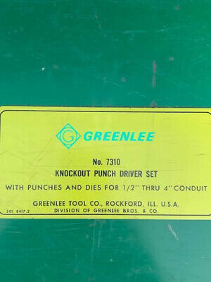 Greenlee 7310 Hydraulic Knockout Punch Driver Complete Set Vintage 1968