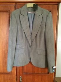 REDUCED..GREY/ WITH FINE PINK STRIP JACKET, NEW NEVER WORN