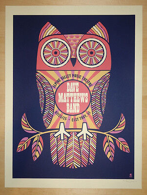 Dave Matthews Band Poster 2015 Alpine East Troy WI N2 Owl Numbered #/1155