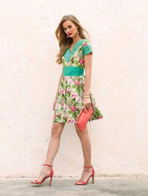 Almatrichi Vestido Adara Rayas Green/Multi Size UK 12 rrp £75.77 SA172 QQ 12