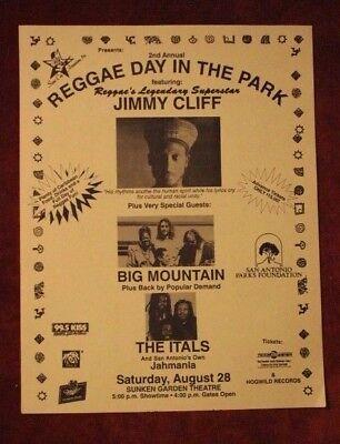 JIMMY CLIFF Big Mountain ITALS San Antonio TX (1993) REGGAE Concert Flyer/Poster