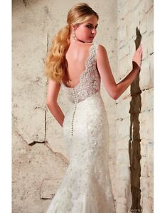Beautiful beaded lace wedding dress