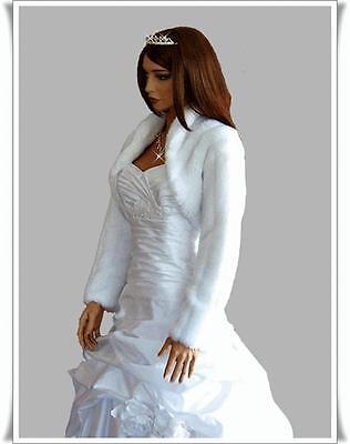 Women's Top Wedding Faux Fur Bolero Bridal Long Sleeve Jacket
