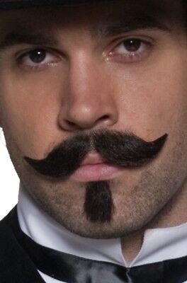 Braun West Glücksspieler Bart und Schnurrbart Set Kostümzubehör