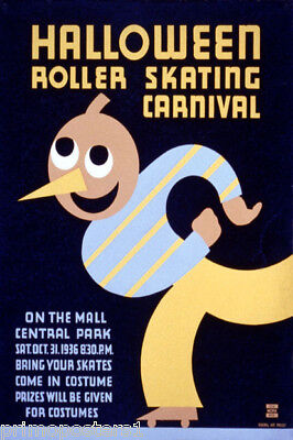 CENTRAL PARK HALLOWEEN ROLLER SKATING CARNIVAL NEW YORK VINTAGE POSTER REPRO](Central Halloween)