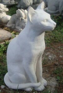 DOMESTIC CAT SIAMESE KITTEN WHITE CEMENT/CONCRETE GARDEN STATUE - MEMORIAL