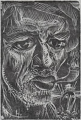 CARLOS HERMOSILLA ALVAREZ Signed Linocut OLD MARINE PORTRAIT 1973