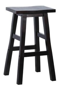2 Black solid wood bar stools