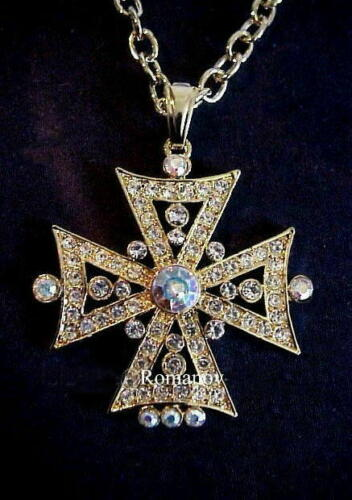 """Russian Imperial """"Empress Alexandra"""" Orthodox Cross necklace signed:ROMANOV"""