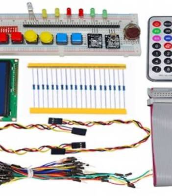 H041 GPIO Starter kit for Raspberry Pi 1602 LCD RGB leds DS18B20 IR remote