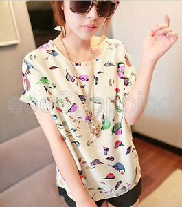 SALE-Women-Casual-Chiffon-Loose-Bird-Design-Top-T-shirt-Tee-Blouse-One-Size-Q044