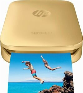 HP Sprocket Portable Photo Printer, print social media photos, Mini Pocket GOLD