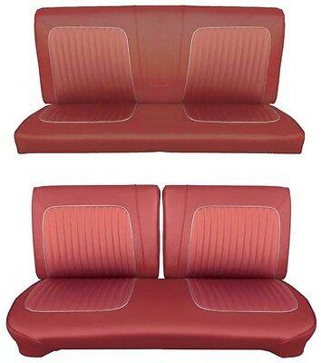 Bench Seat Full Set Upholstery - 64 Falcon Futura Hardtop Full Upholstery Set w/ Split Bench Seat, Red