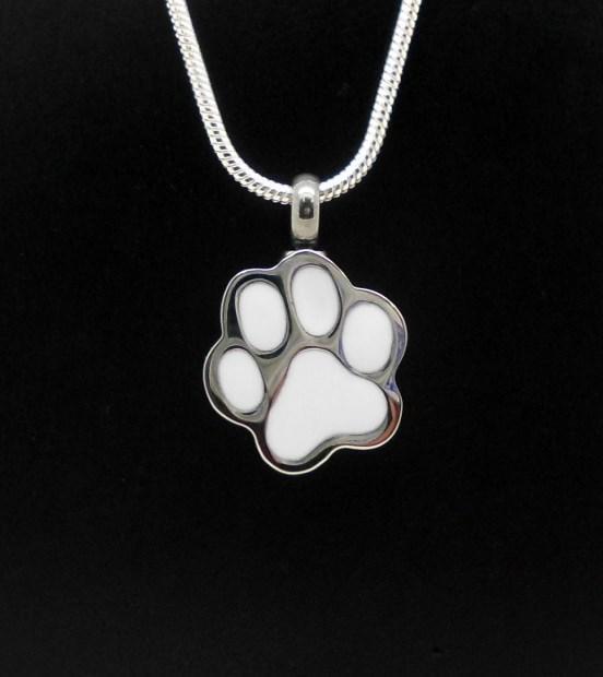 Silver Cat Dog Pet Paw Print Memorial Keepsake Funeral Ash Urn Jewellery Pendant