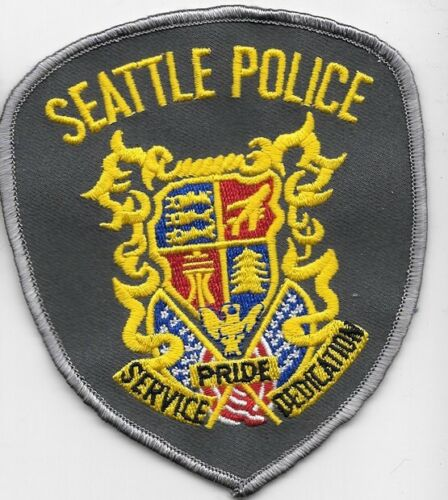 SEATTLE WASHINGTON WASH WA POLICE DEPT (FIRE) CROSS FLAGES FLAGS EAGLE PRIDE SPD