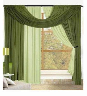 """Kashi Home Bella 4 Piece Window Set in Sage & Green - 60"""" X 90"""""""