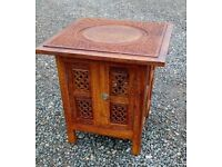 Anglo Indian Style Carved Inlaid Wooden Folding Decorative Side Coffee Table