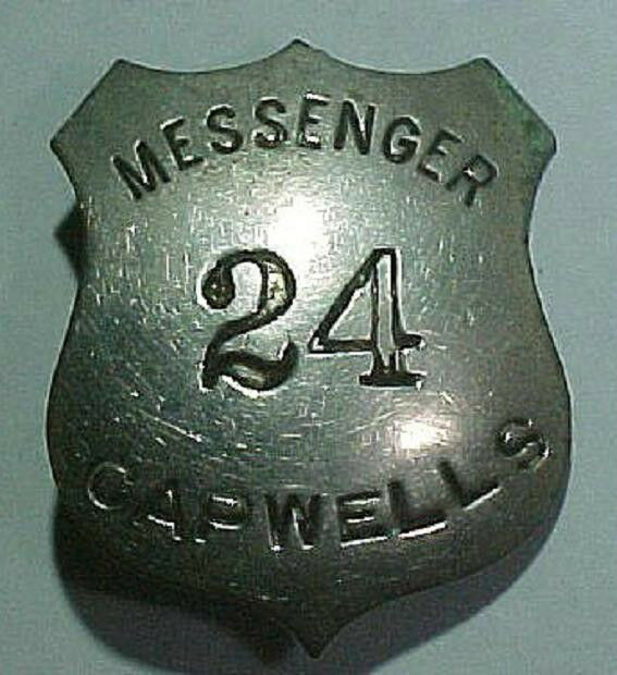 "Vintage 1940s Capwells Department Store ""MESSENGER"" Badge"
