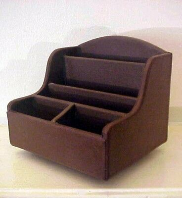 Desk Organizer Caddy Brown Faux Leather Look