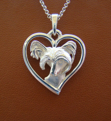 Sterling Silver Chinese Crested Head Study On A Heart Pendant