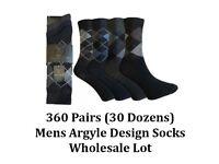 360 Pairs Mens Designer Ralph Lewis Argyle Everyday Cotton Formal Socks Job Lot Clearance Wholesale