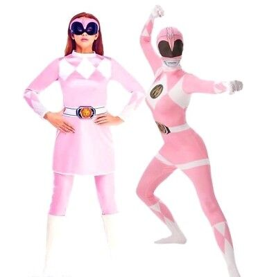 Pink Power Ranger Outfit (Adult Ladies PINK POWER RANGER Fancy Dress Costumes Superhero Rangers Outfit)