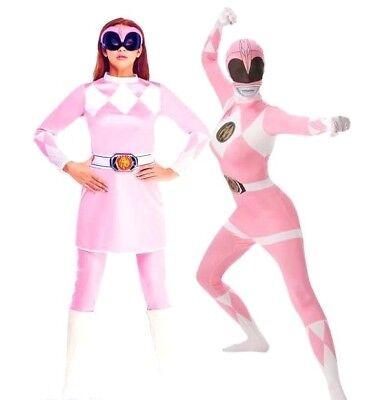Adult Ladies PINK POWER RANGER Fancy Dress Costumes Superhero Rangers Outfit