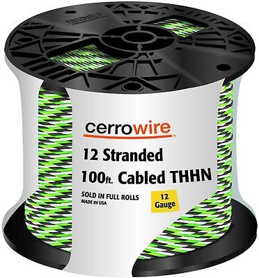 100 Stranded Electrical Copper Wire 123 Thhn Cable Spool Black White Green
