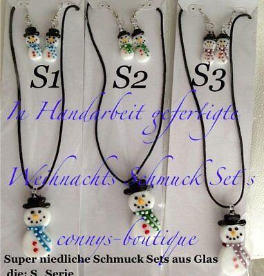 Weihnacht Set  Ohrringe + Halskette  Schneemann und andere Ohrringe