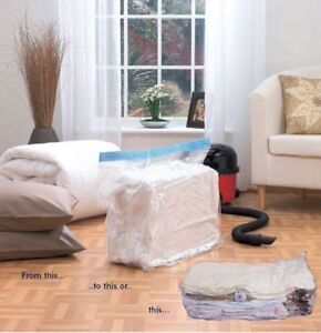2 X EXTRA LARGE GUSSETED VACUUM VAC PACK STACKABLE DUVET BEDDING STORAGE BAGS