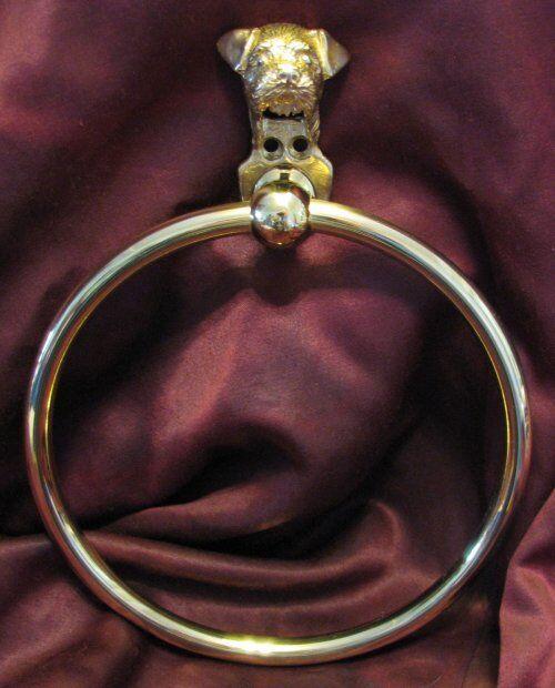 BORDER TERRIER Bronze Towel Ring!