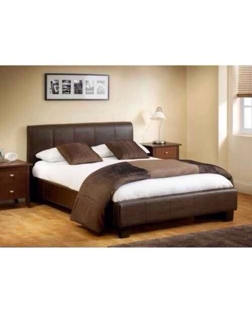 THIS WEEK ONLY DOUBLE LEATHER BED + FREE MATTRESS £99