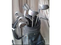 Tanaka golf clubs & leather bag