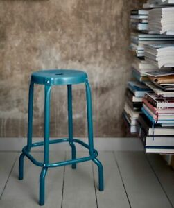 4 blue metal counter height stools, perfect condition