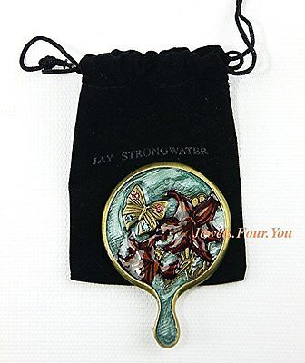 Jay Strongwater Mini Finger Mirror, Brand New in Pouch, Antique Finish.