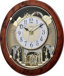 (New!) WOODGRAIN STARS Magic Musical Motion Clock Rhythm Clocks 4MH843WS23
