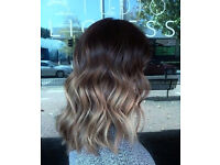 New Ladies Brown /Light Brown Two Toned Ombre Wavy Shoulder Length Natural Looking Hair Bob Wig.