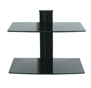 LEVV-FLOATING-BLACK-GLASS-ADJUSTABLE-SHELVES-WALL-MOUNT-2-SHELF-SHELVING-TV-DVD