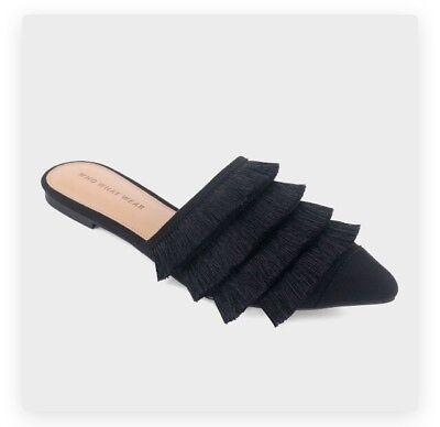 Annie Slip (Who What Wear Annie 9 Black Tassel Pointed Toe Mules Slip On Sexy)