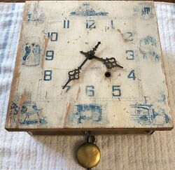 "Vintage painted wood 9""x9"" wall clock with brass Seth Thomas 41AM, made in USA"