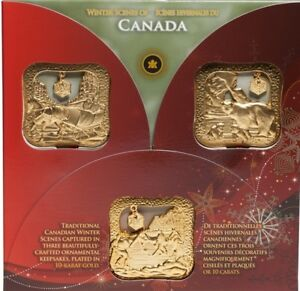 Royal Canadian Mint Gold Christmas Ornaments