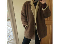 Vintage brown and cream sheepskin coat for sale