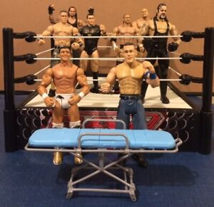 8 WWE WWF ACTION FIGURES, STRETCHER AND THE RING