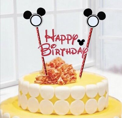 NEW Disney Mickey Mouse Themed Party Happy Birthday Cake Topper with Ears (Mickey Themed Birthday Party)