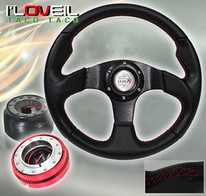 92-95 HONDA CIVIC BLACK STEERING WHEEL RED SHORT QUICK RELEASE+ ADAPTER HUB