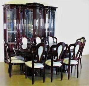 Large Italian Dining Room Set Table 8 Chairs Leaf And China Cabinet