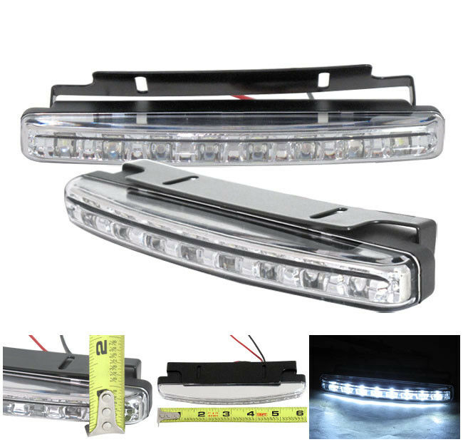 White 12V 8-LED Daytime Running Light DRL Car Fog Day Driving Lamp Lights LH+RH